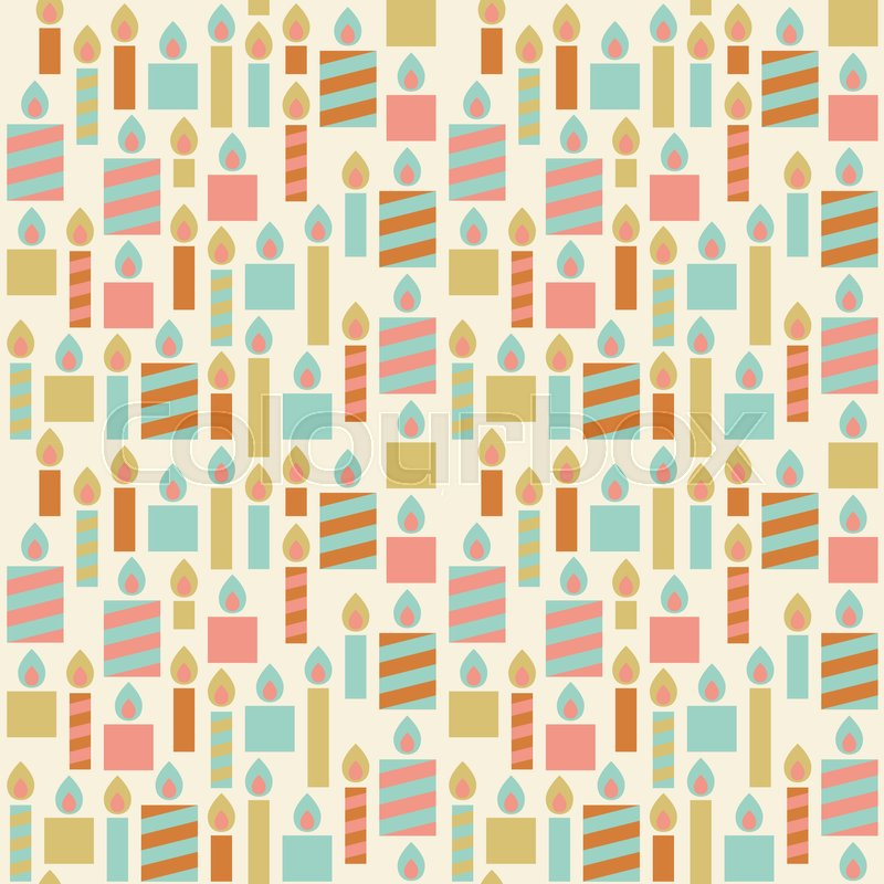 Candle Seamless Pattern Background Vintage Birthday Wrapping Paper For Party Or Greeting Flat Design Vector