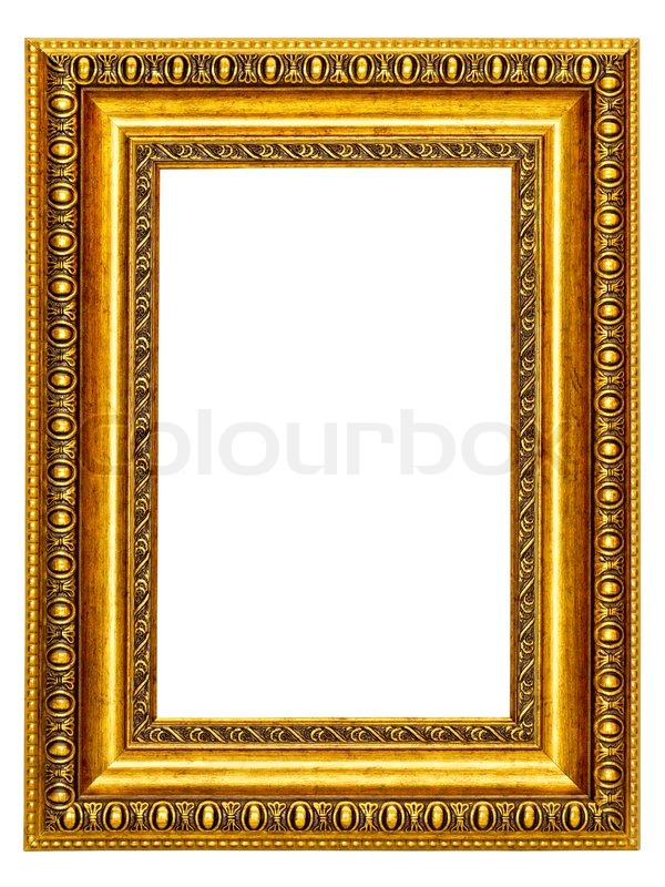 Gold-patterned frame for a picture on a white background | Stock ...