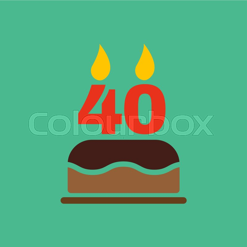 The Birthday Cake With Candles In Form Of Number 40 Icon Symbol Flat Vector Illustration