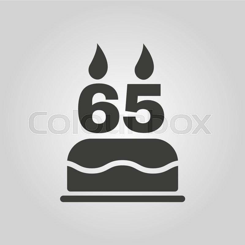 The Birthday Cake With Candles In The Form Of Number 65 Icon