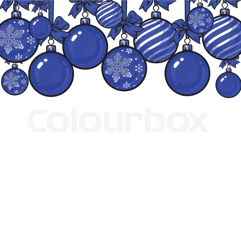 Blue Christmas Balls With Ribbon And Bows Sketch Style Vector Template For Greeting Card Frame Or Border Of Hanging Decoration