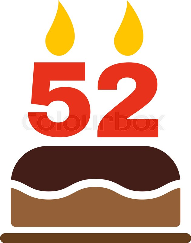 The birthday cake with candles in the form of number 52 icon. Birthday  symbol. Flat Vector illustration | Stock Vector | Colourbox