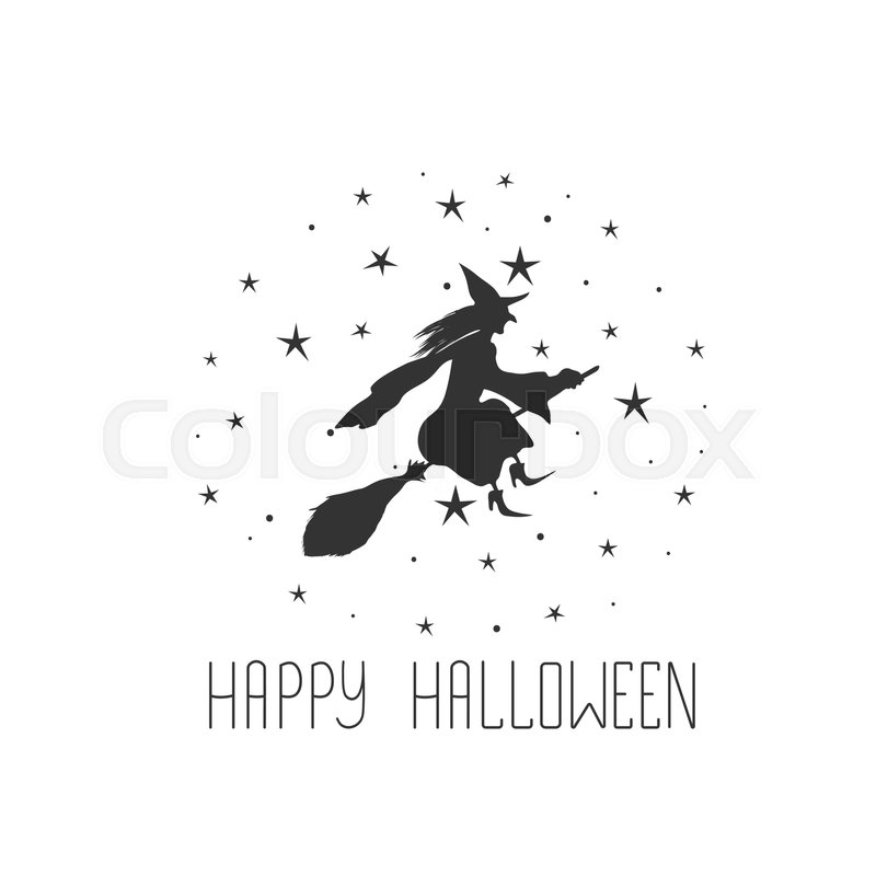 Halloween Card With Witch And Text Happy Halloween. | Stock Vector |  Colourbox