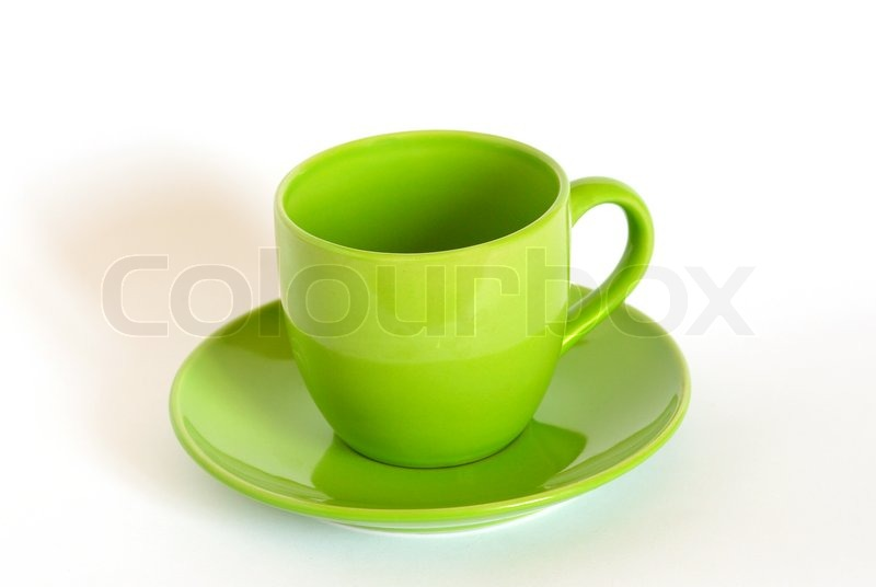 Green Tea Cup And Saucer On White Stock Photo