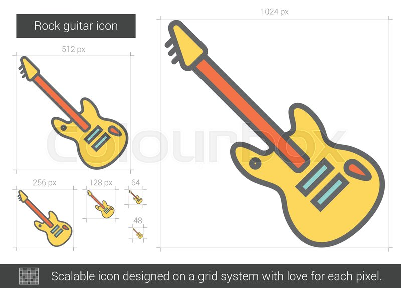 Rock guitar vector line icon isolated     | Stock vector | Colourbox