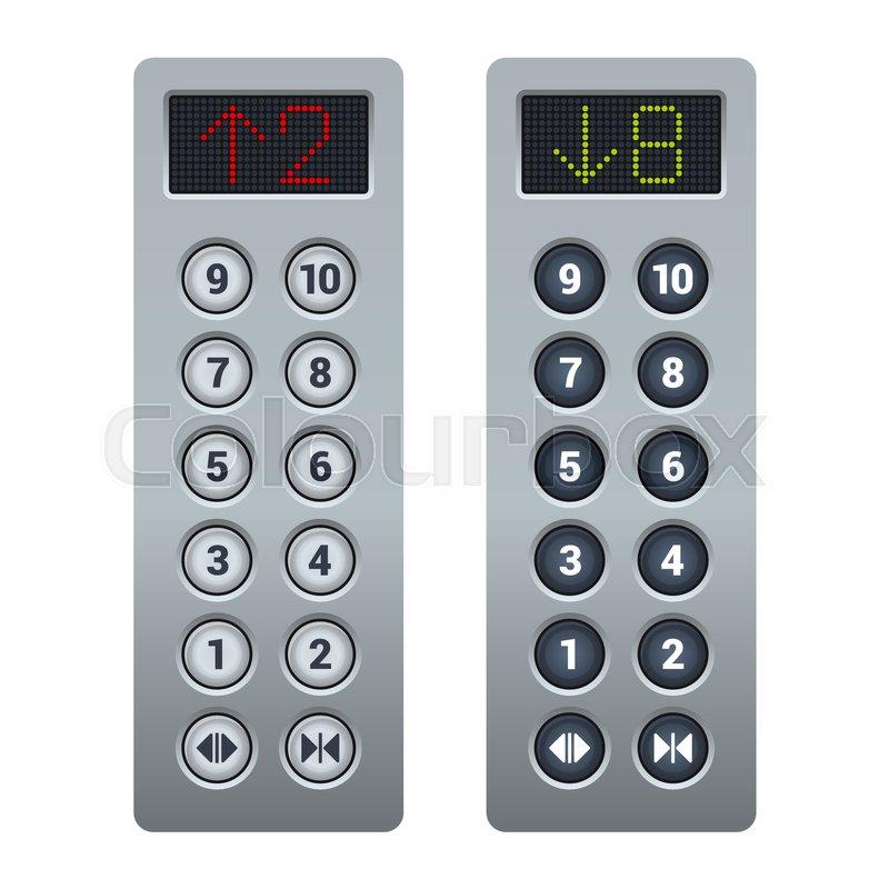 steel elevator buttons panel set vector illustration stock vector