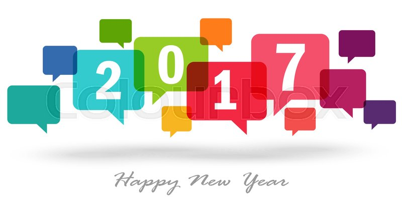 New year greetings with colored speech bubbles and text 2017 stock new year greetings with colored speech bubbles and text 2017 vector m4hsunfo