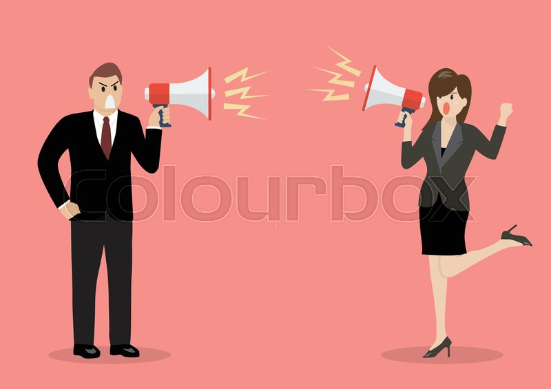 Businessman And Woman Are Shouting On Each Other With Megaphones