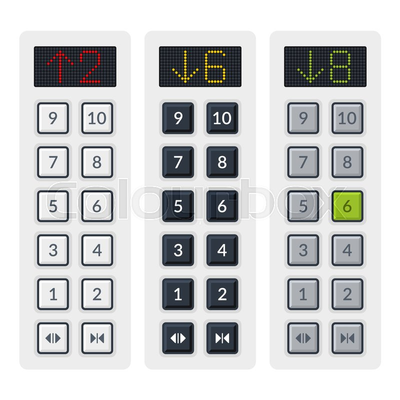 Number Plate Suppliers >> Steel Elevator Buttons Panel Set. Vector illustration   Stock Vector   Colourbox