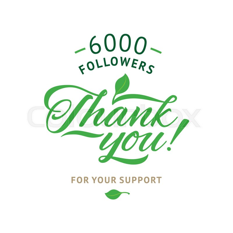 thank you 6000 followers card vector ecology design template for