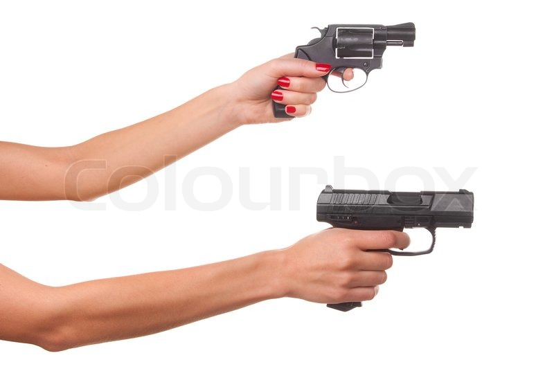 Woman's hand with a gun. Isolated on white. | Stock Photo ...