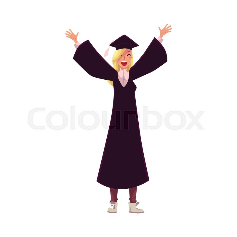 Happy female student in traditional cap and gown celebrating ...