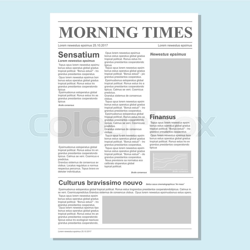 Graphical Design Newspaper Journal Template Vector Paper Tabloid On