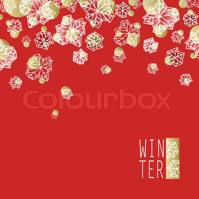 horizontal border frame winter polygonal trendy style snowflakes on red gold background winter holidays snowfall concept winter label