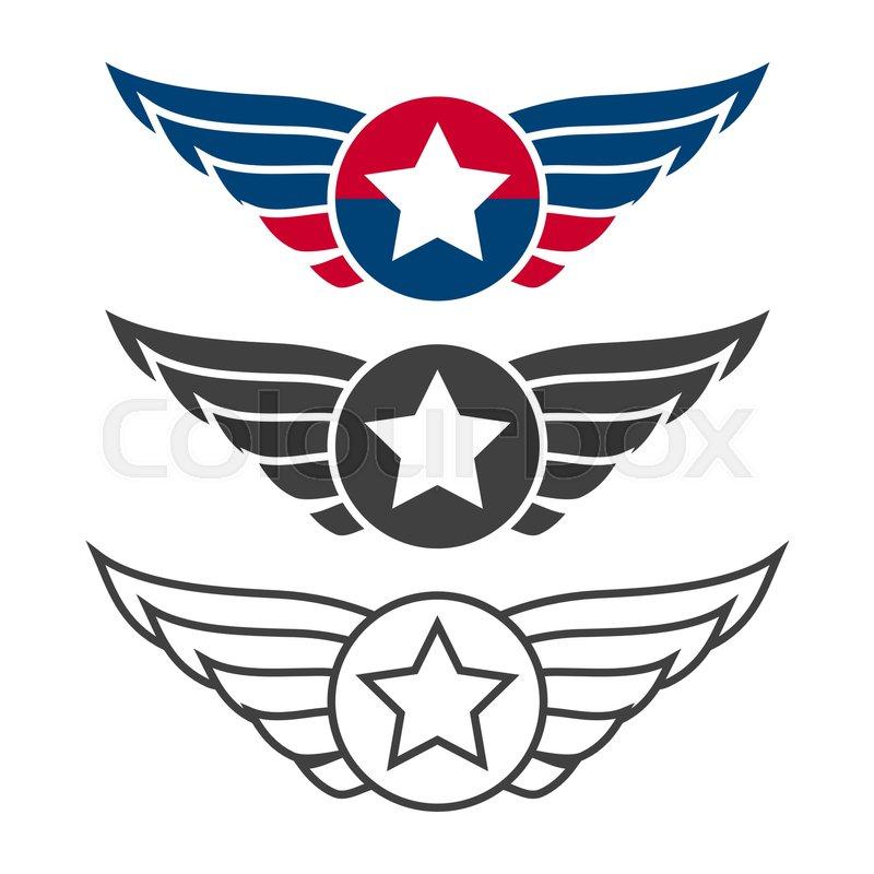 Aviation Emblem Set Badges Or Logos Military And Civil Aviation