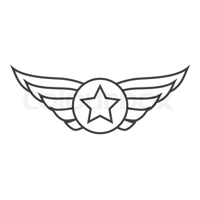Aviation Outline Emblem Badge Or Logo Military And Civil Aviation