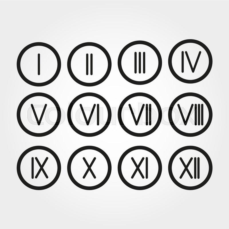 The set roman numerals 1 12 icon vector stock vector colourbox thecheapjerseys Gallery