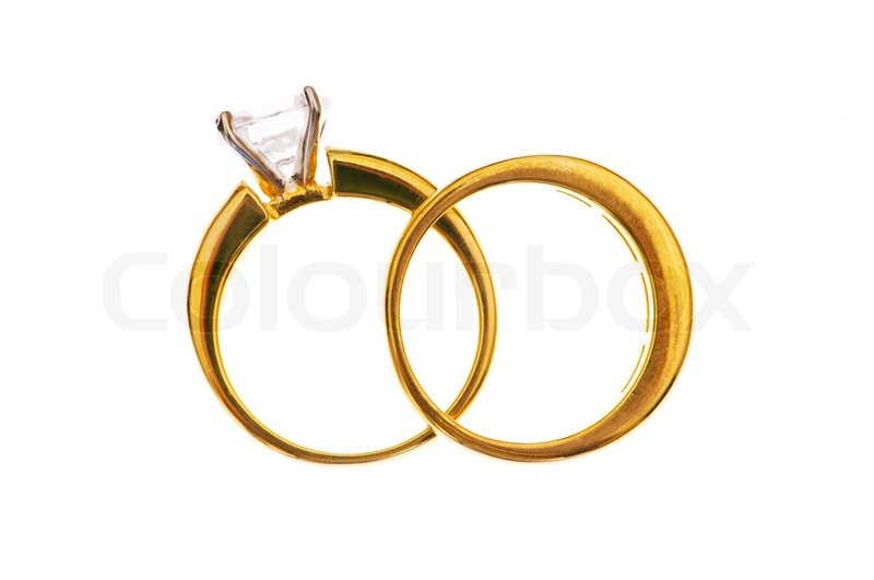 Stock Image Of Two Wedding Rings Isolated On The White