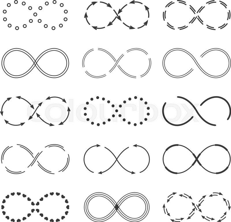 Set Of Different Infinity Symbols Vector Eps10 Illustration Stock