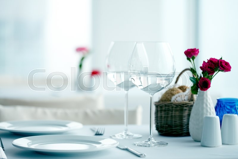 Table At Restaurant For Two With Wineglasses Stock Photo Colourbox - Table for two restaurant