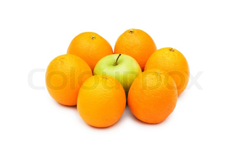 Stock image of 'Stand out from crowd with apple and oranges'