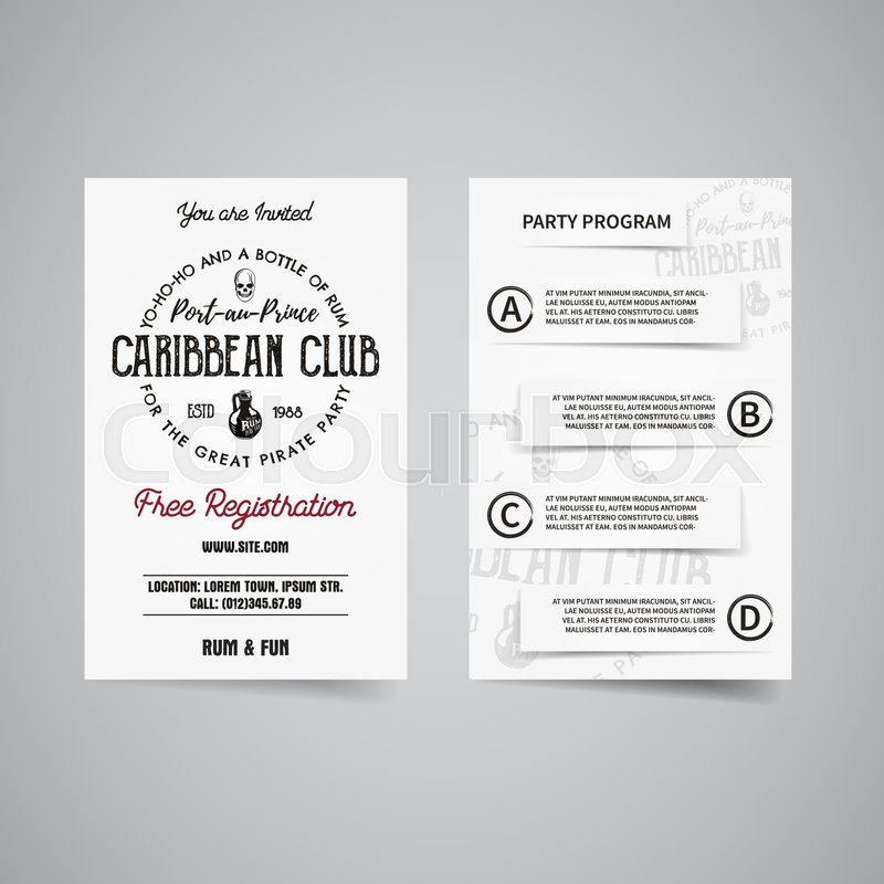 Caribbean party back and front flyer template design. Invitation template. Rum label brand identity letterhead. Party Poster and brochure with typography and emblem, logo template. Vector, vector