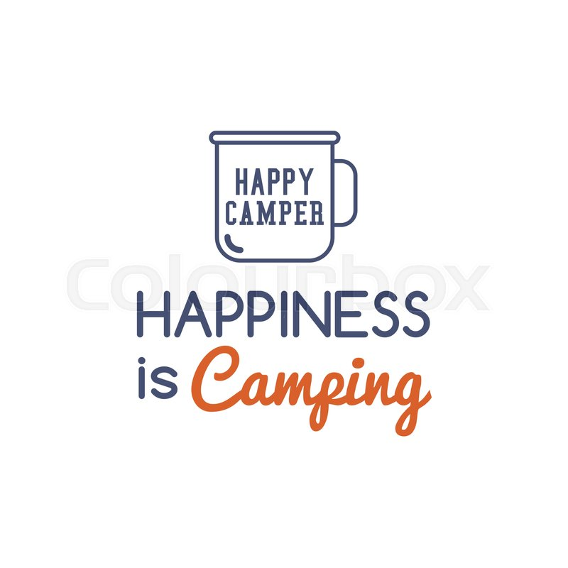 Camping Typography Concept With Hiking Symbol Travel Mug And Text