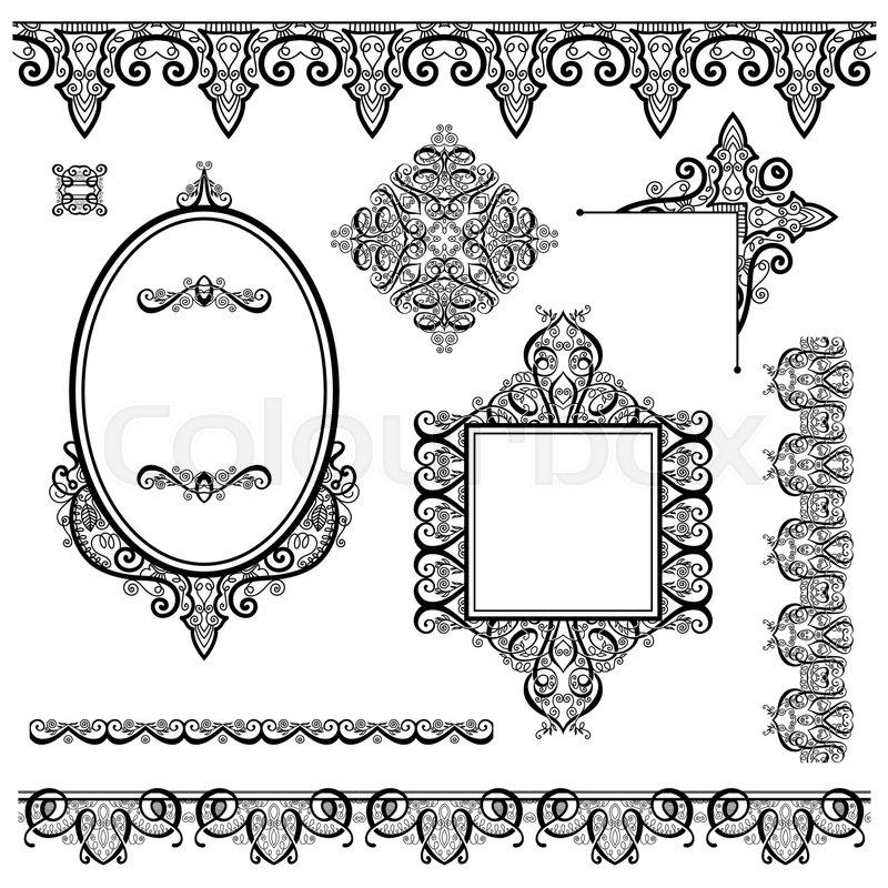 Set of black white design elements and page decoration - frames ...