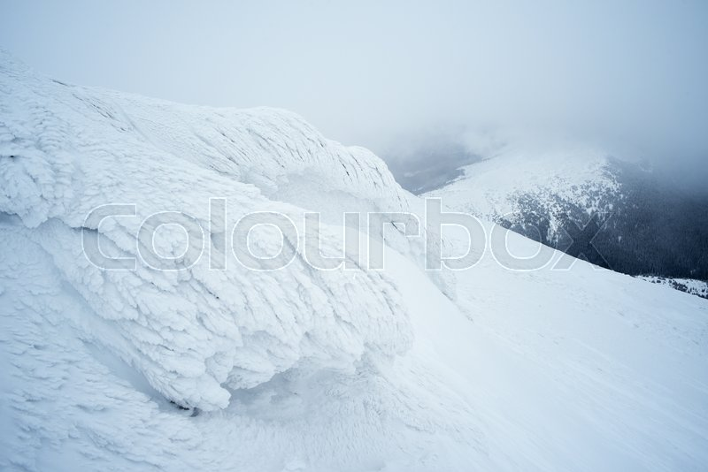 Hoarfrost on a rock in the mountains. Winter landscape a cloudy day. Severe weather, stock photo