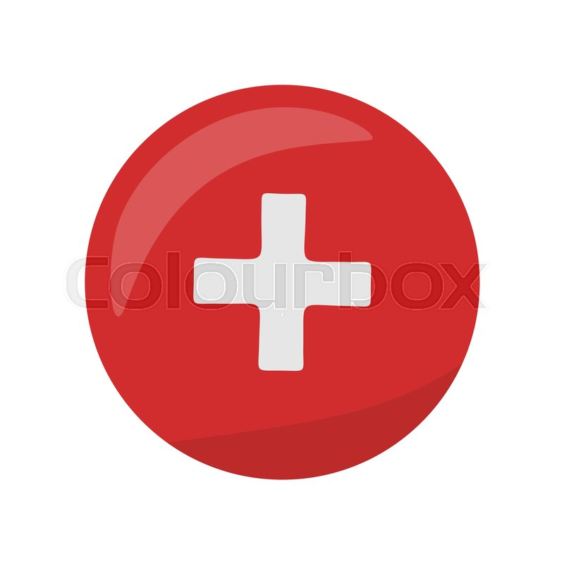 Red Cross Icon On The Button First Medical Aid Ambulance Sign Symbol Hospital Emblem Flag Of Switzerland Round Circle