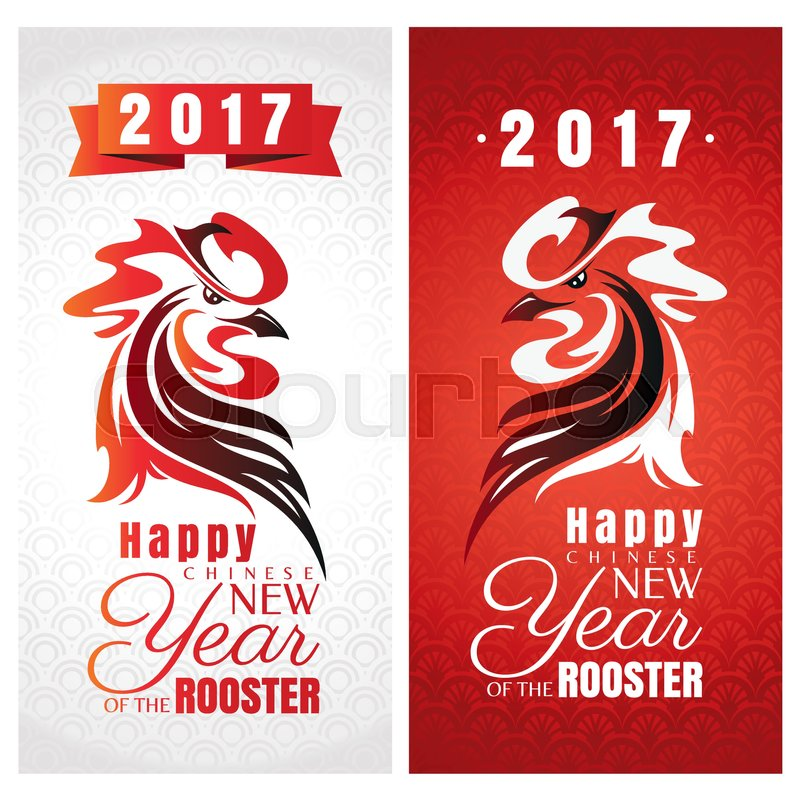 Chinese new year greeting cards with rooster vector illustration chinese new year greeting cards with rooster vector illustration stock vector colourbox m4hsunfo
