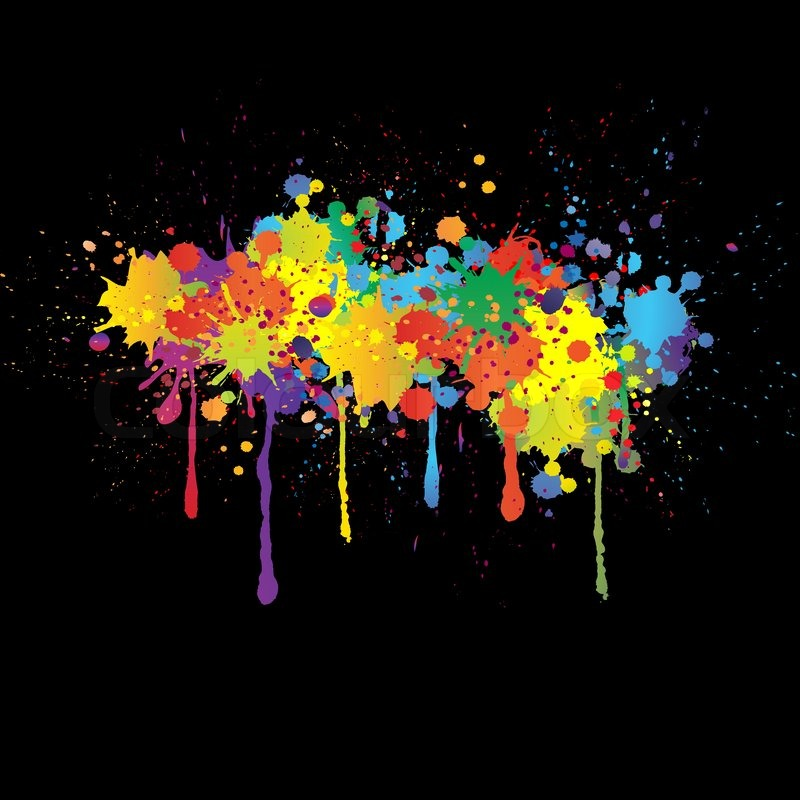 Colorful bright ink splashes on black background stock for Happy color spray paint price