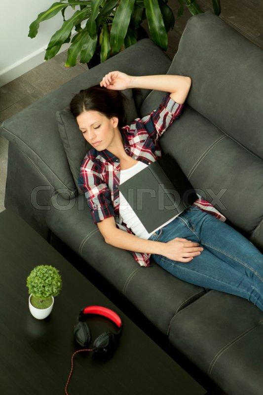 Attractive Brunette Girl Sleeping On Stock Photo Colourbox