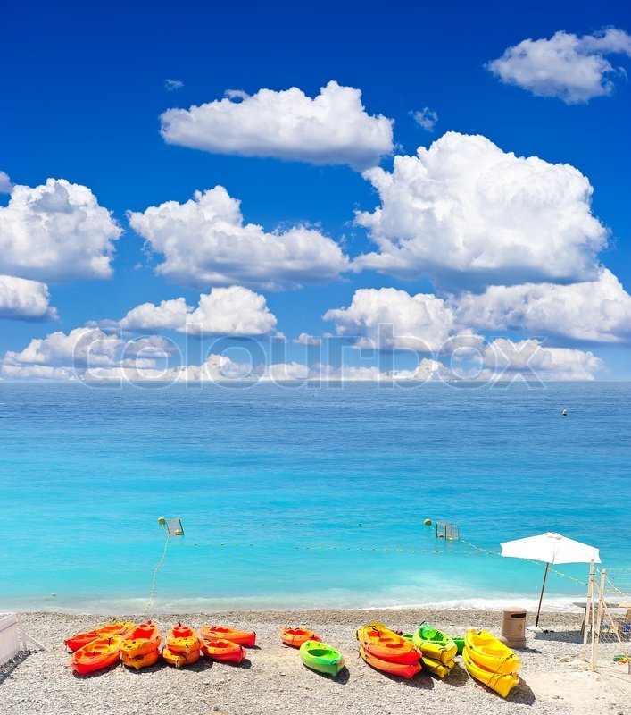 Beach Backgrounds on Of  Colorful Boats On Beautiful Beach Of Nice  Holiday Background