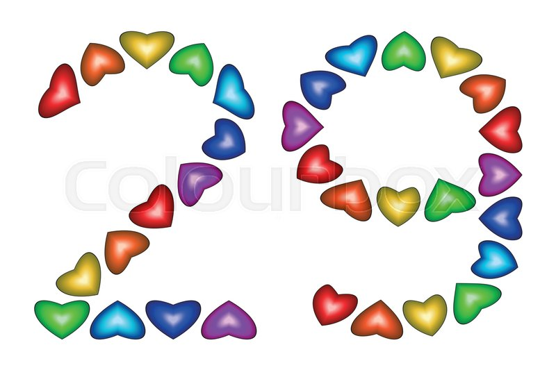 Number 29 of colorful hearts on white symbol for happy birthday number 29 of colorful hearts on white symbol for happy birthday event invitation greeting card award ceremony holiday anniversary sign bookmarktalkfo Images