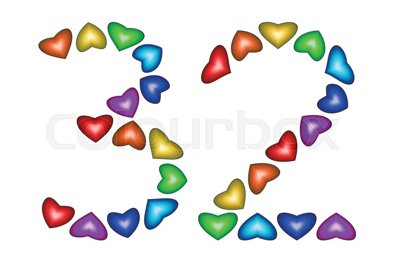 Number 32 Of Colorful Hearts On White Symbol For Happy Birthday
