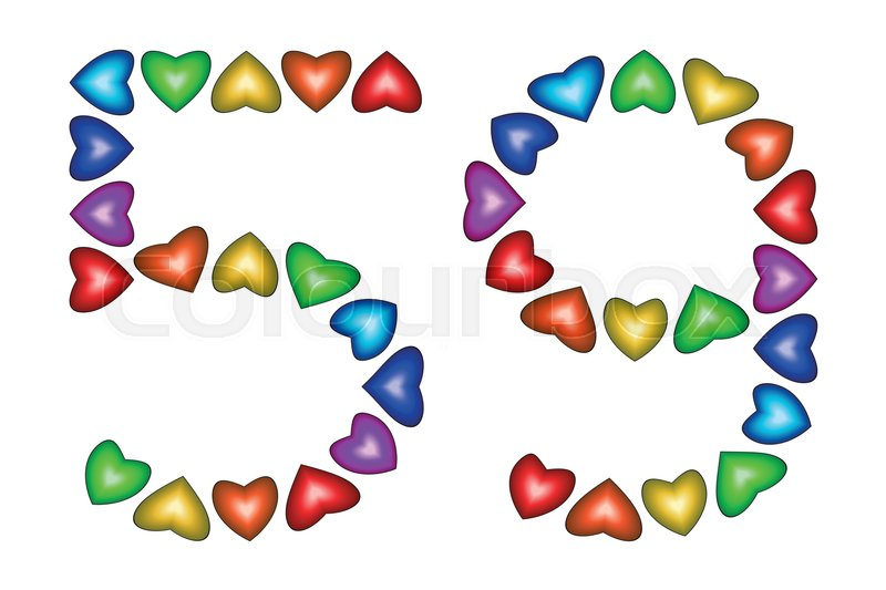 Number 59 Of Colorful Hearts On White Symbol For Happy Birthday