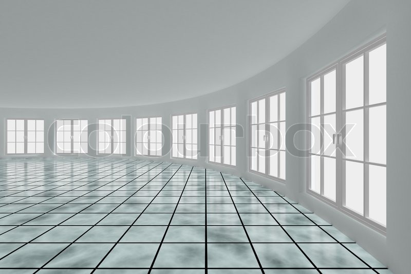 Empty hall with windows interior 3d image stock photo for 3d wallpaper for hall