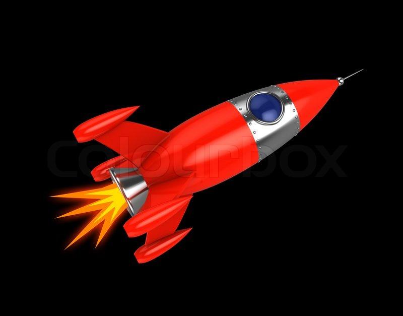 3d illustration of space rocket over black background ...