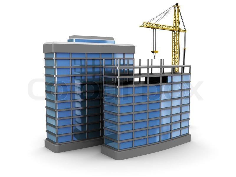3d illustration of modern building construction over white for Construction 3d
