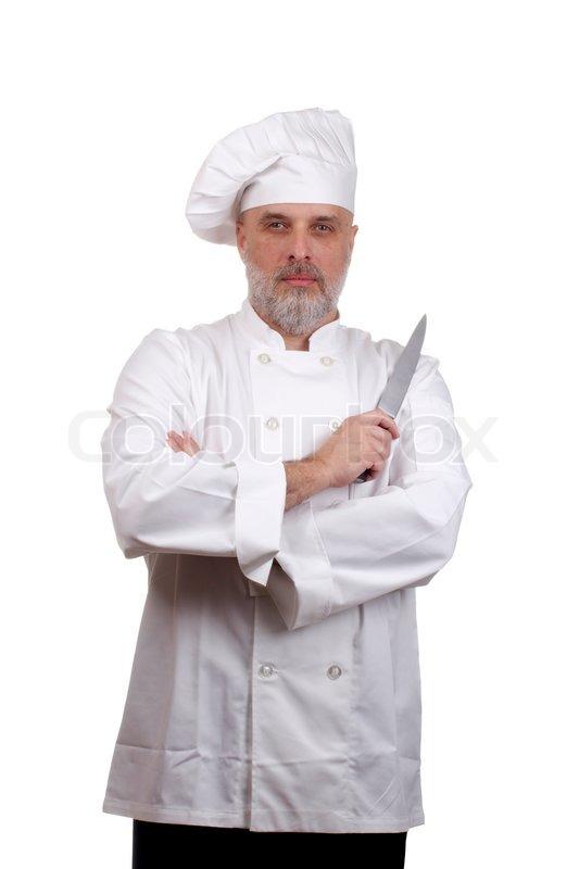 Koch portr t mit verschr nkten armen und einem messer in for Koch mit bart