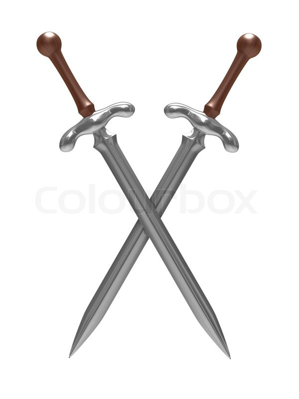 two sword on white background isolated 3d image stock