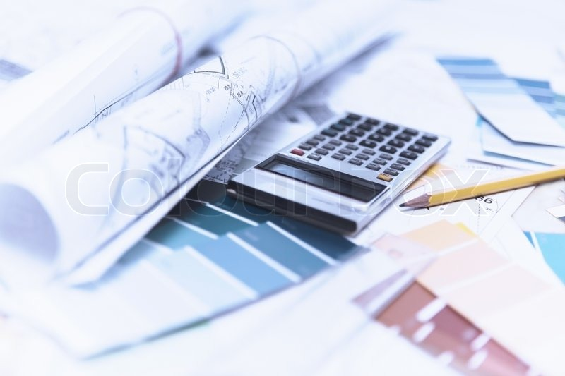 House building and interior design plans Stock Photo Colourbox