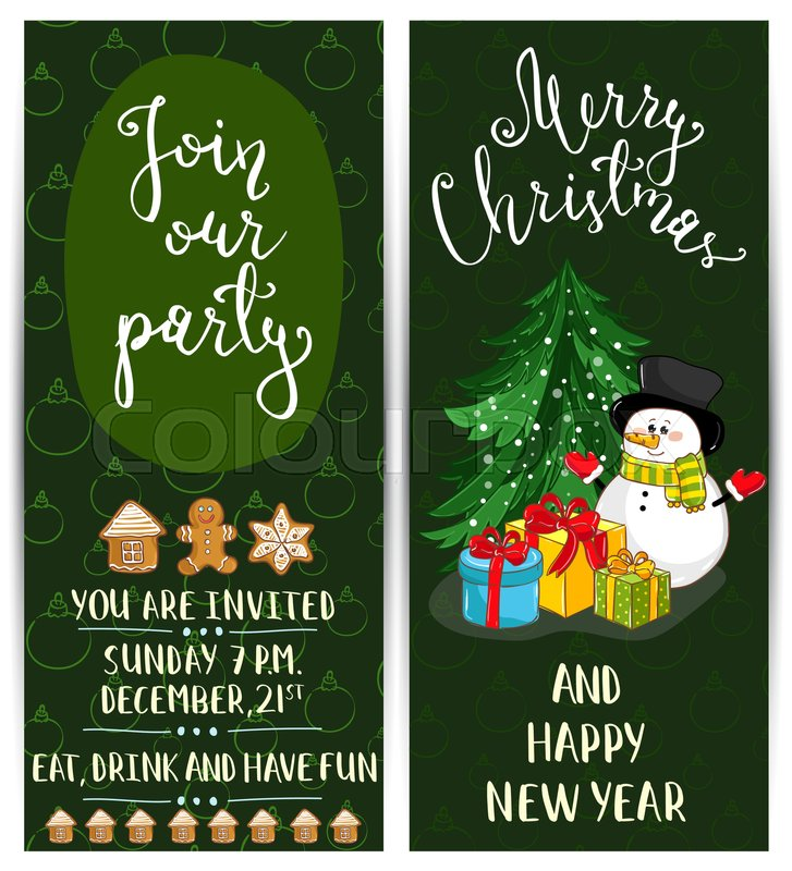 Invitation on christmas party with date and time cute snowman invitation on christmas party with date and time cute snowman wrapped gifts gingerbread cookies toys cartoon vectors merry christmas and happy new year stopboris Images