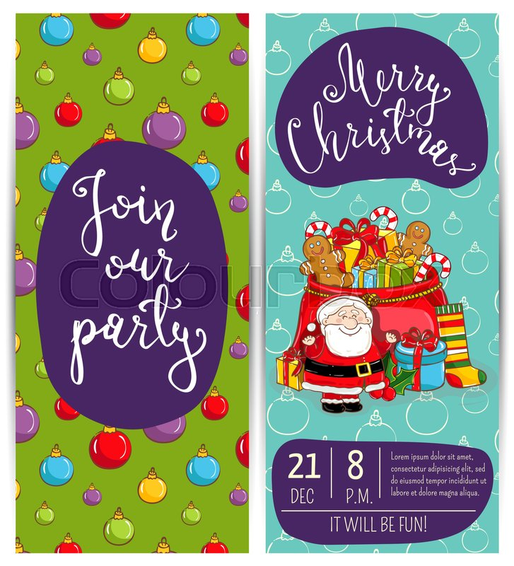 Invitation on christmas party with date and time cheerful santa stock vector of invitation on christmas party with date and time cheerful santa m4hsunfo