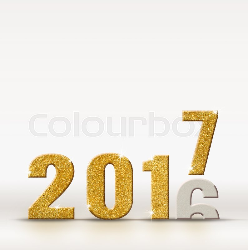2017 new year golden sparkling glitter number change from 2016 year on white studio room background, resolutions for new year, stock photo