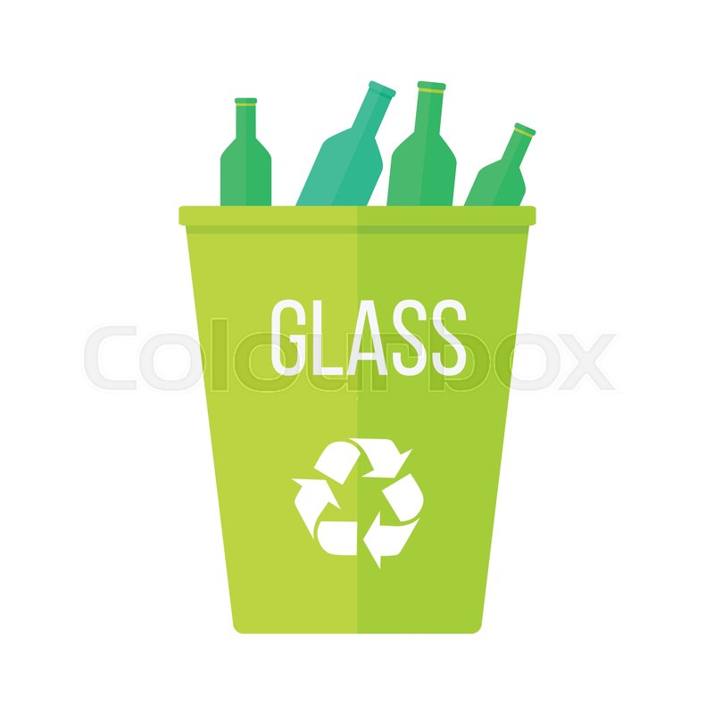 Green Recycle Garbage Bin With Glass Reuse Or Reduce Symbol