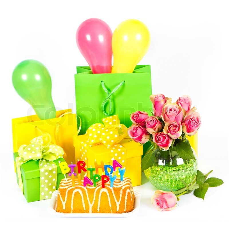 Happy Birthday Party Decoration Cake And Flowers Stock Photo