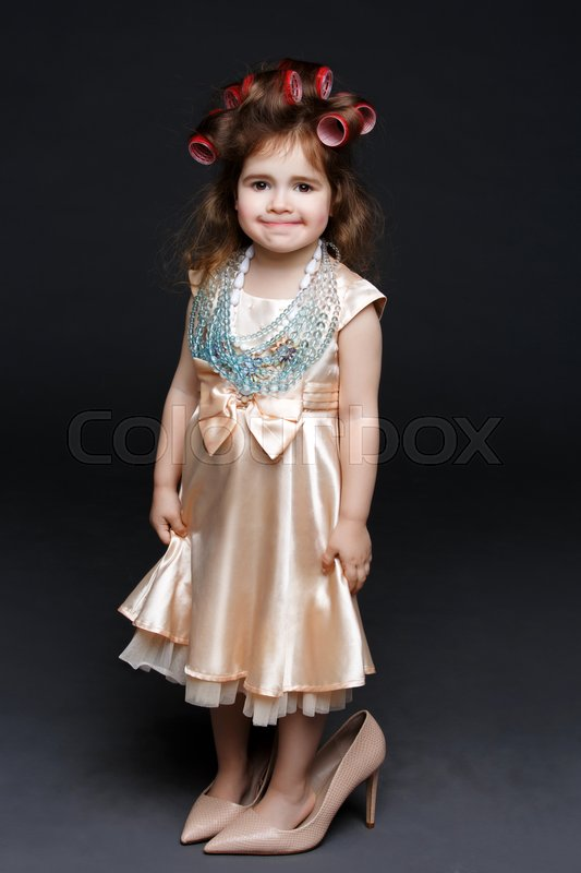 Cute Little Girl In Dress And Big High   Stock Photo -2354