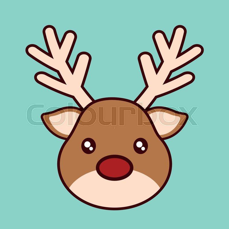 Kawaii reindeer icon. Christmas season decoration and celebration ...
